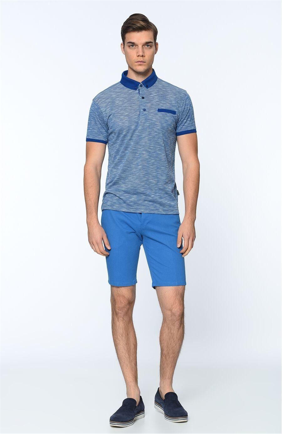 Polo Yaka Regular Fit Saks Tshirt