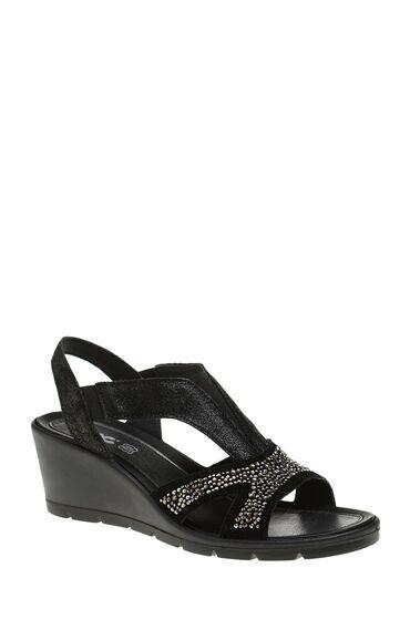 Taş Detaylı Siyah Sandalet