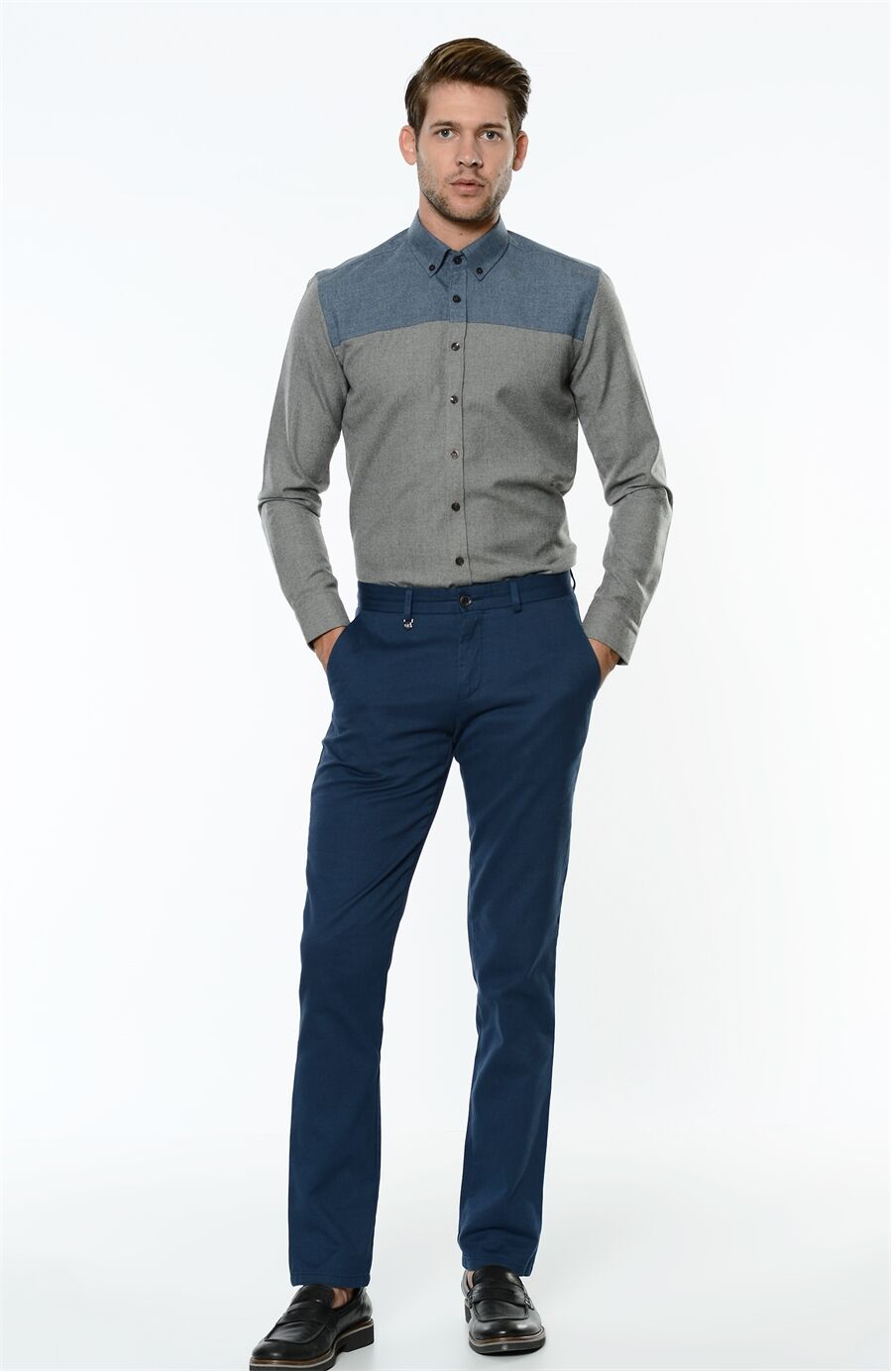 Mikro Desenli Rahat Kesim Erkek Pantolon