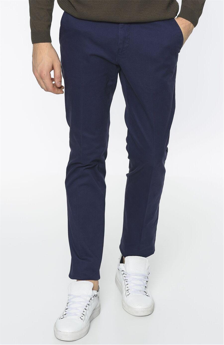 Diyagonal Rahat Kesim Indigo Pantolon