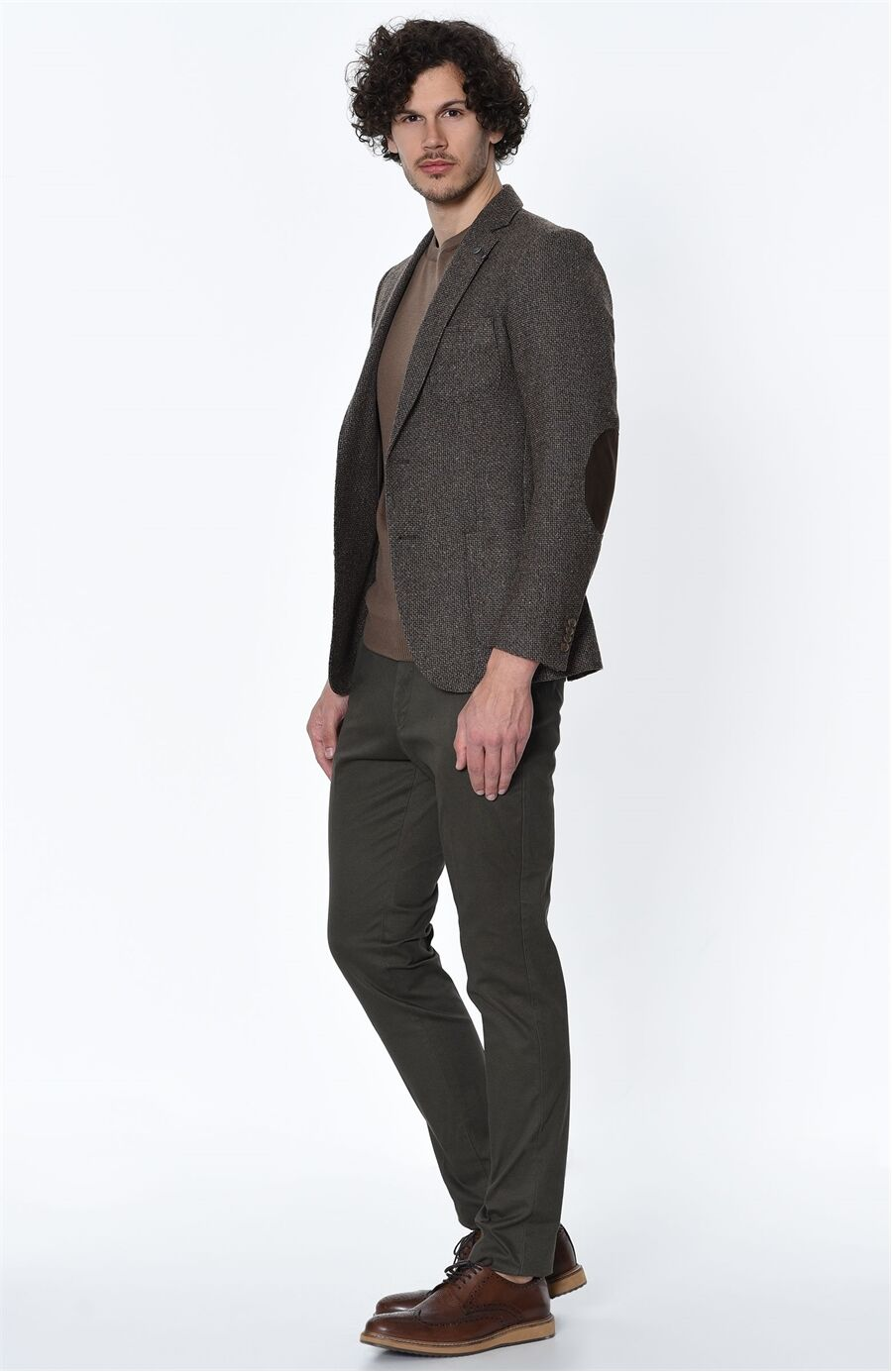 Diyagonal Rahat Kesim Haki Pantolon