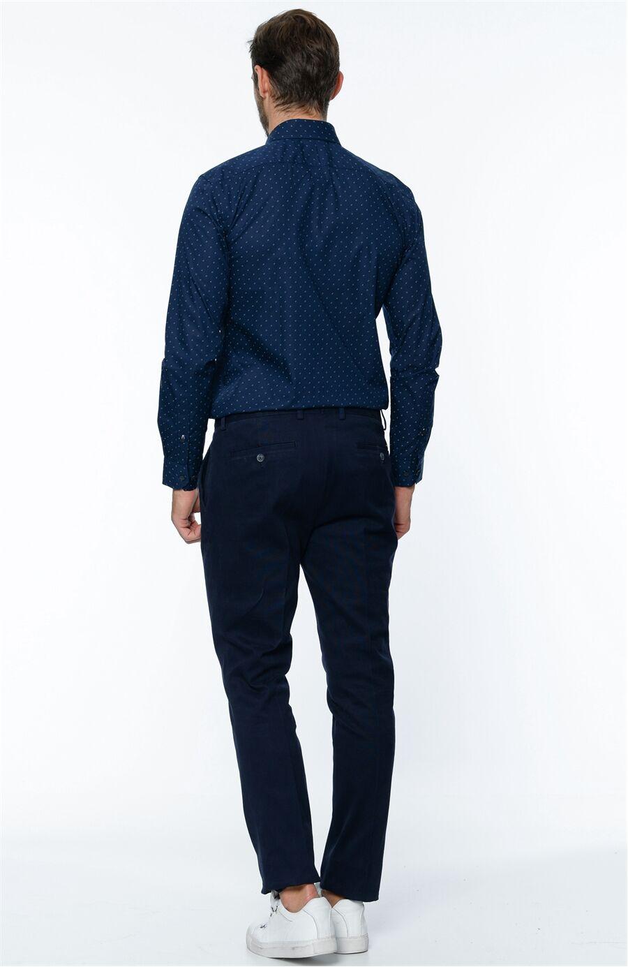 Çizgili Lacivert Pantolon