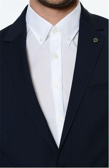 Çizgili Rahat Kesim Lacivert Takım Elbise