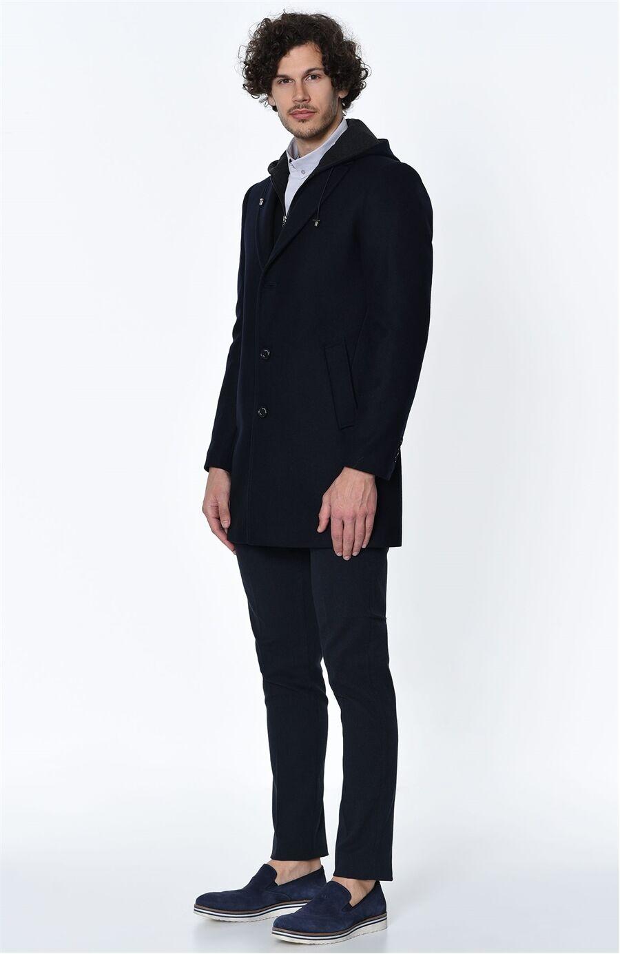 George Hogg Lacivert Kapşonlu Yün Palto