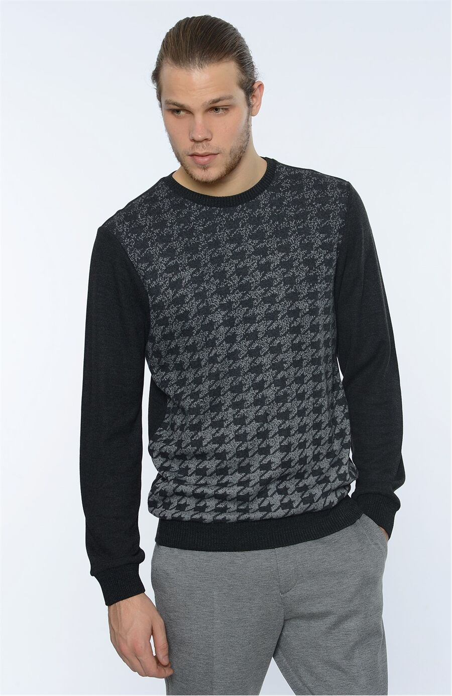 Bisiklet Yaka Regular Fit Antrasit Sweatshirt