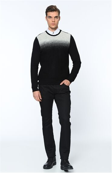 Bisiklet Yaka Regular Fit Siyah Sweatshirt