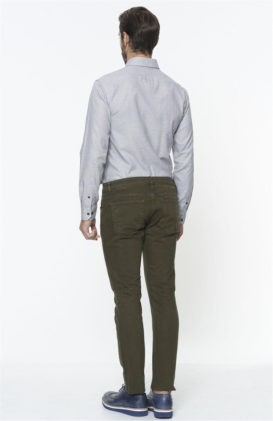 Diyagonal Slım Fit Haki Casual Pantolon