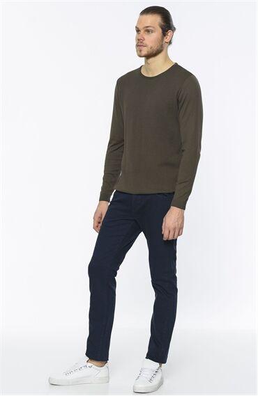 Diyagonal Desen Lacivert Casual Pantolon