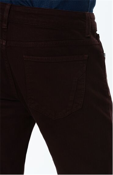Diyagonal Slım Fit Bordo Casual Pantolon