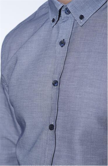 Desenli Regular Fit Lacivert Gömlek