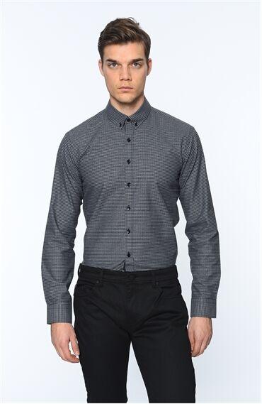 Ekose Slım Fit Siyah Gömlek