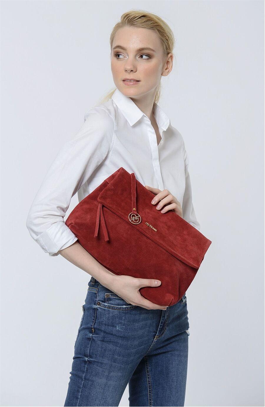 Nubuk Kırmızı Çanta
