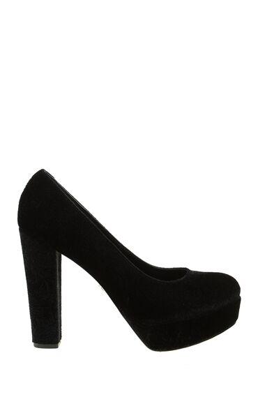 Siyah Desenli Kadife Ayakkabı