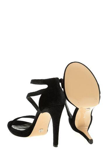 Siyah Desenli Kadife Sandalet