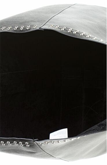 Zımba Desenli Siyah Zımbalı Tote Çanta