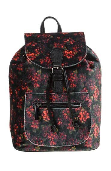 Çiçekli Kırmızı-Siyah Sırt Çantası