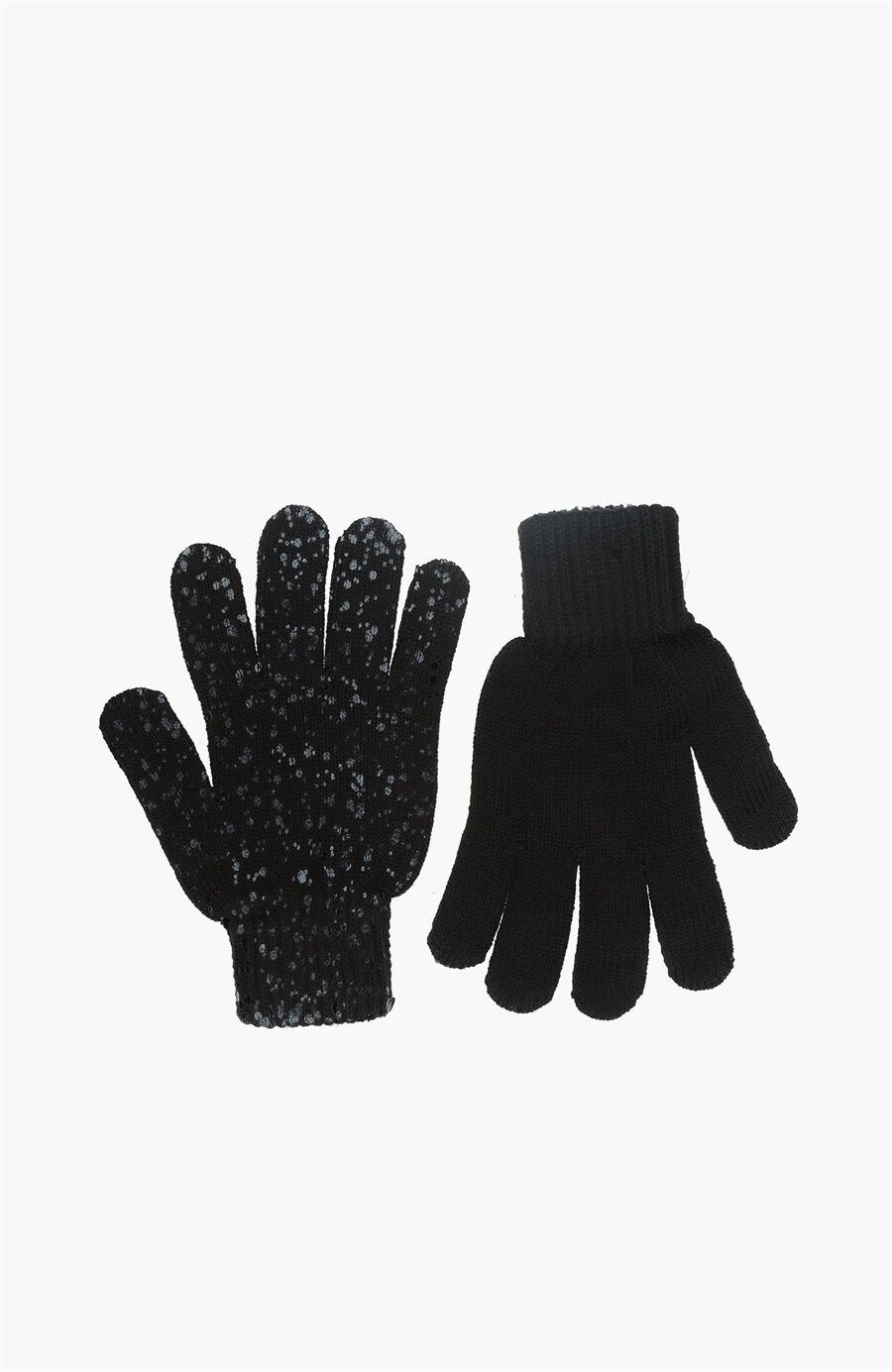 Taşlı Siyah Kadın Eldiven