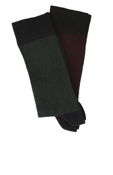 Çizgili Siyah Lacivert 2li Çorap Set
