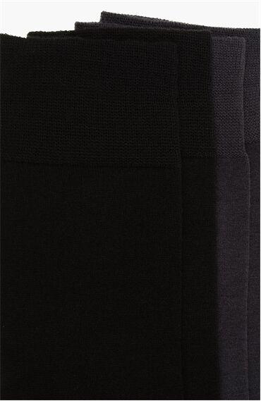 Bamboo Desenli Siyah Antrasit 2'li Çorap Set