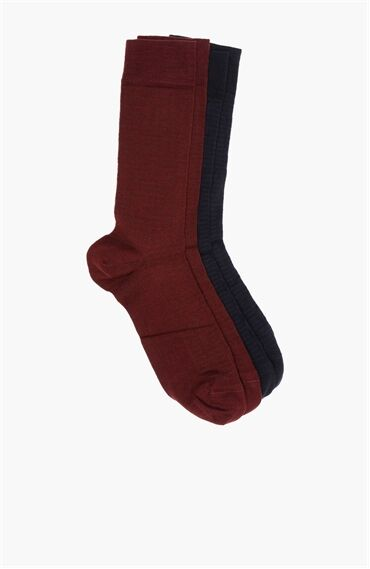 Bamboo Desenli Lacivert - Bordo 2'li Çorap Set