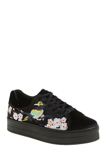 Nakışlı Siyah Sneaker