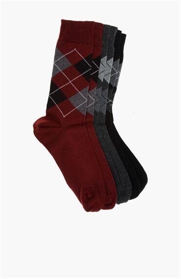 Ekose Desen Siyah Bordo 3'Lü Çorap Set
