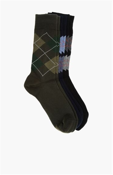 Ekose Siyah Lacivert 3Lü Erkek Çorap Seti