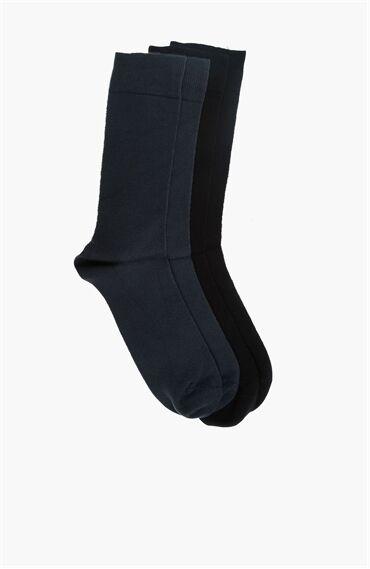 Bamboo Jakarlı Siyah 2'li Çorap Set
