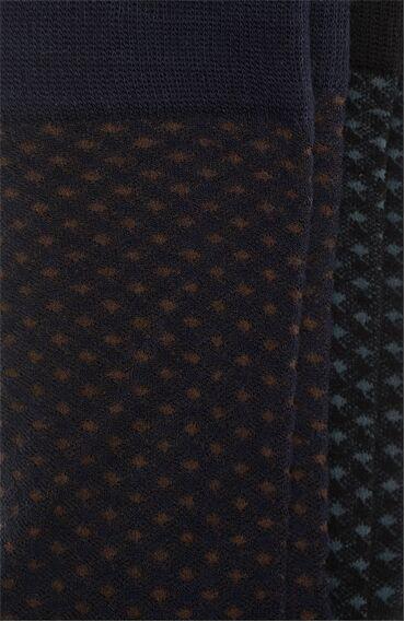Bamboo Jakarlı Siyah Lacivert 2'li Çorap Set