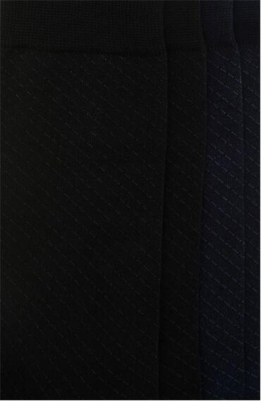 Jakarlı Siyah Lacivert 2'li Çorap Set