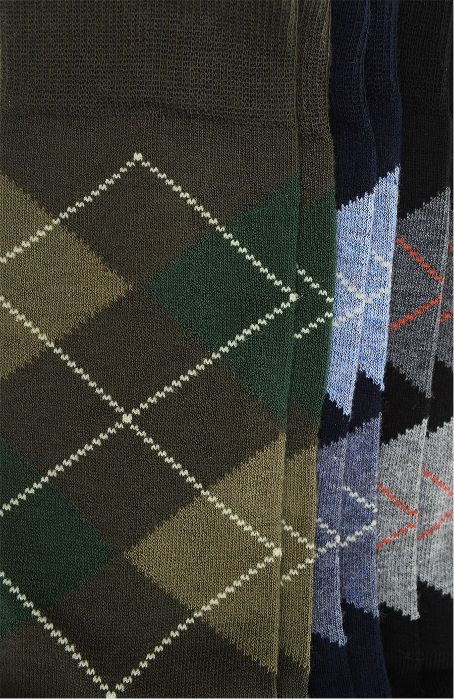 Ekose Siyah Lacivert 3'Lü Kadın Çorap Set