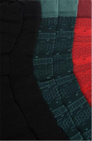 Ekose Siyah Bordo 3'Lü Kadın Çorap Set