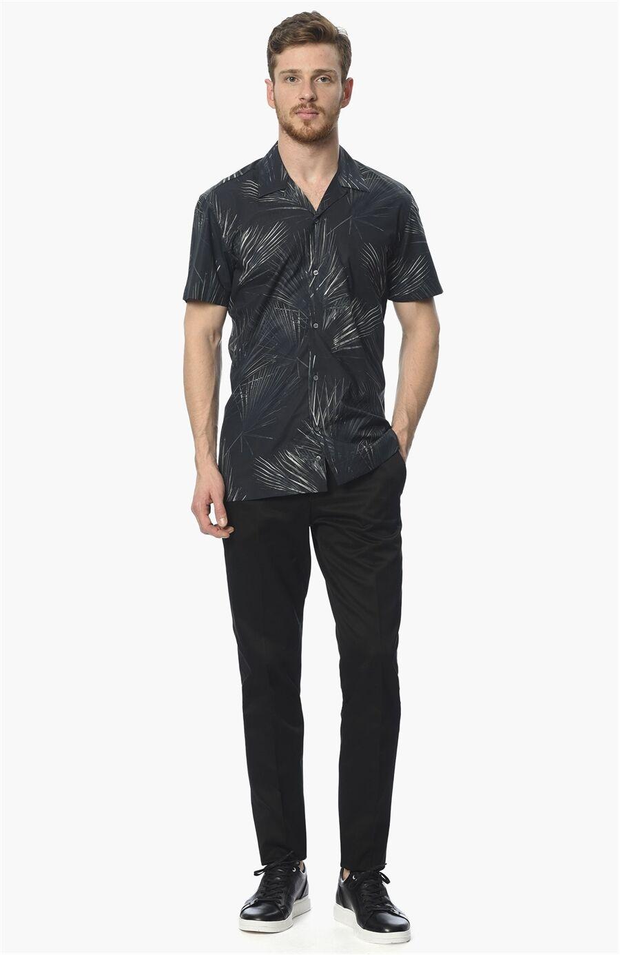 Baskılı Lacivert Gömlek