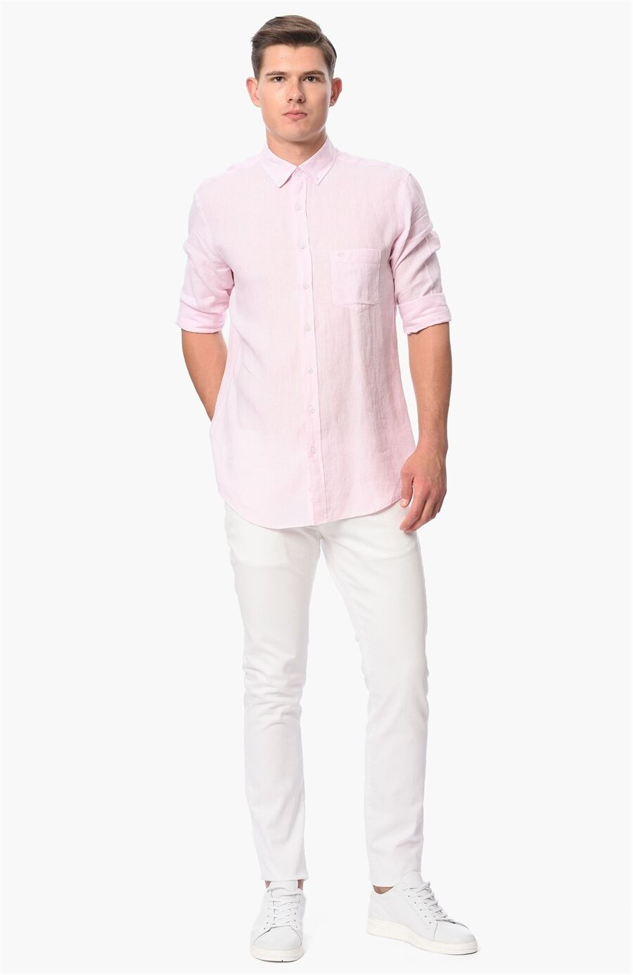 Diyagonal Slım Fit Beyaz Casual Pantolon
