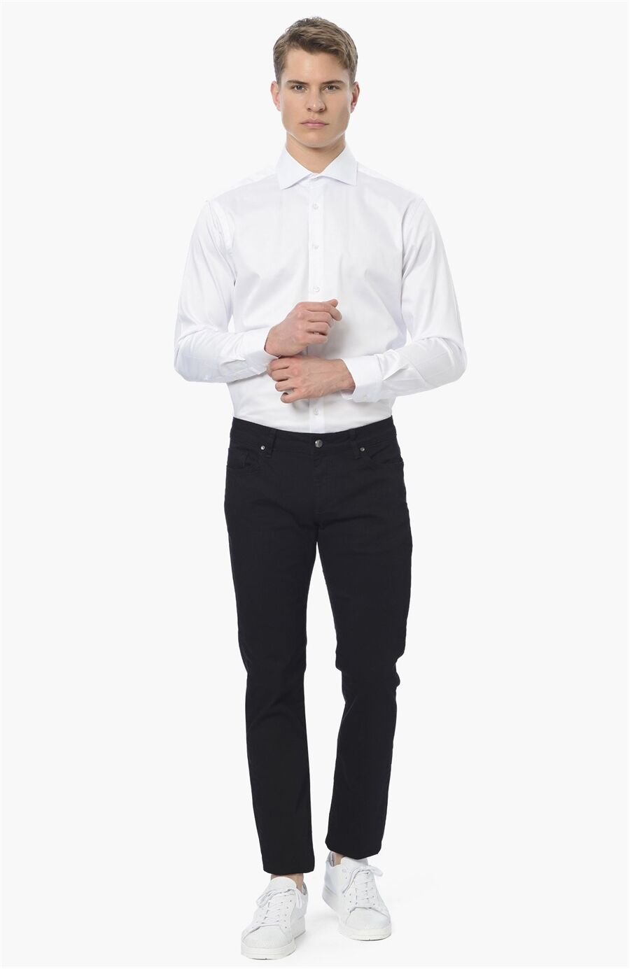 Diyagonal Slım Fit Siyah Casual Pantolon