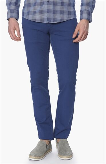 Mavi Normal Bel Dar Paça Dokulu Pantolon