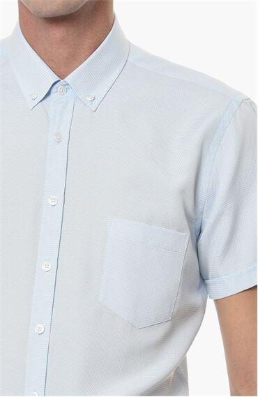 Jakarlı Beyaz Turkuaz Gömlek