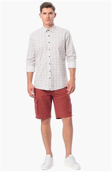 Baskılı Slım Fit Kahverengi Beyaz Gömlek