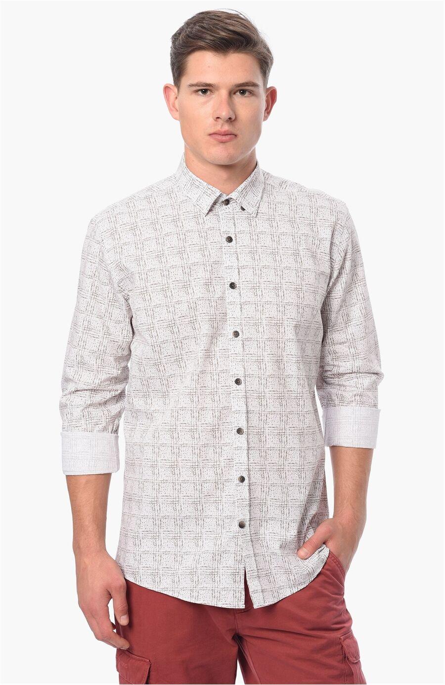 Baskılı Kahverengi Beyaz Gömlek