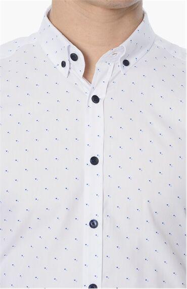 Baskılı Slım Fit Beyaz Gömlek