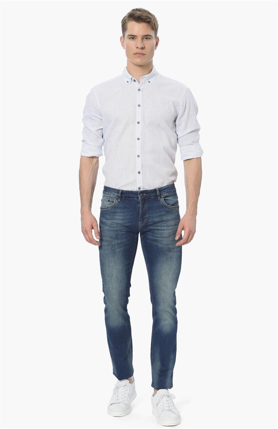 Baskılı Slım Fit Mavi Beyaz Gömlek