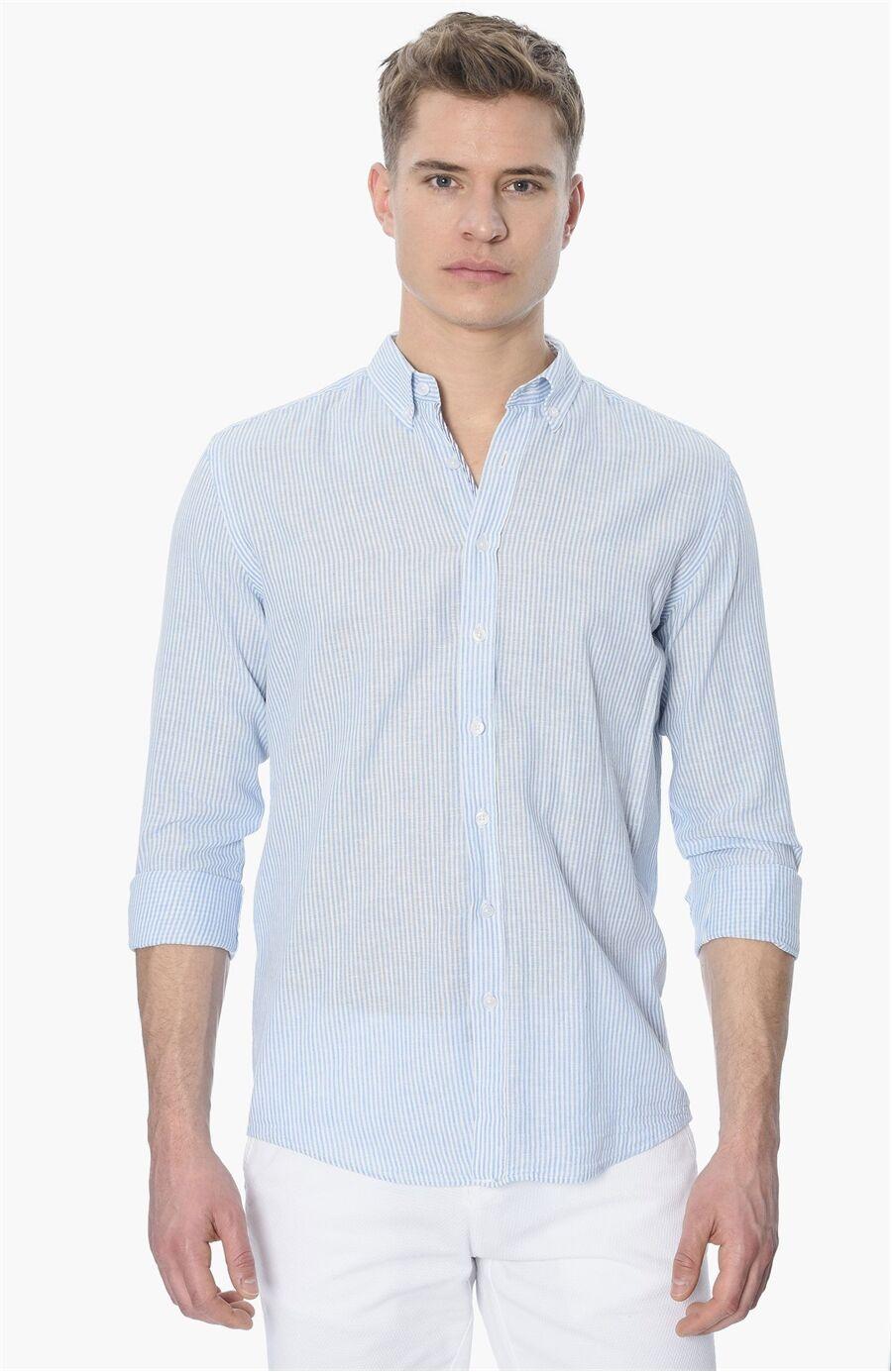 Çizgili Slım Fit Mavi Gömlek