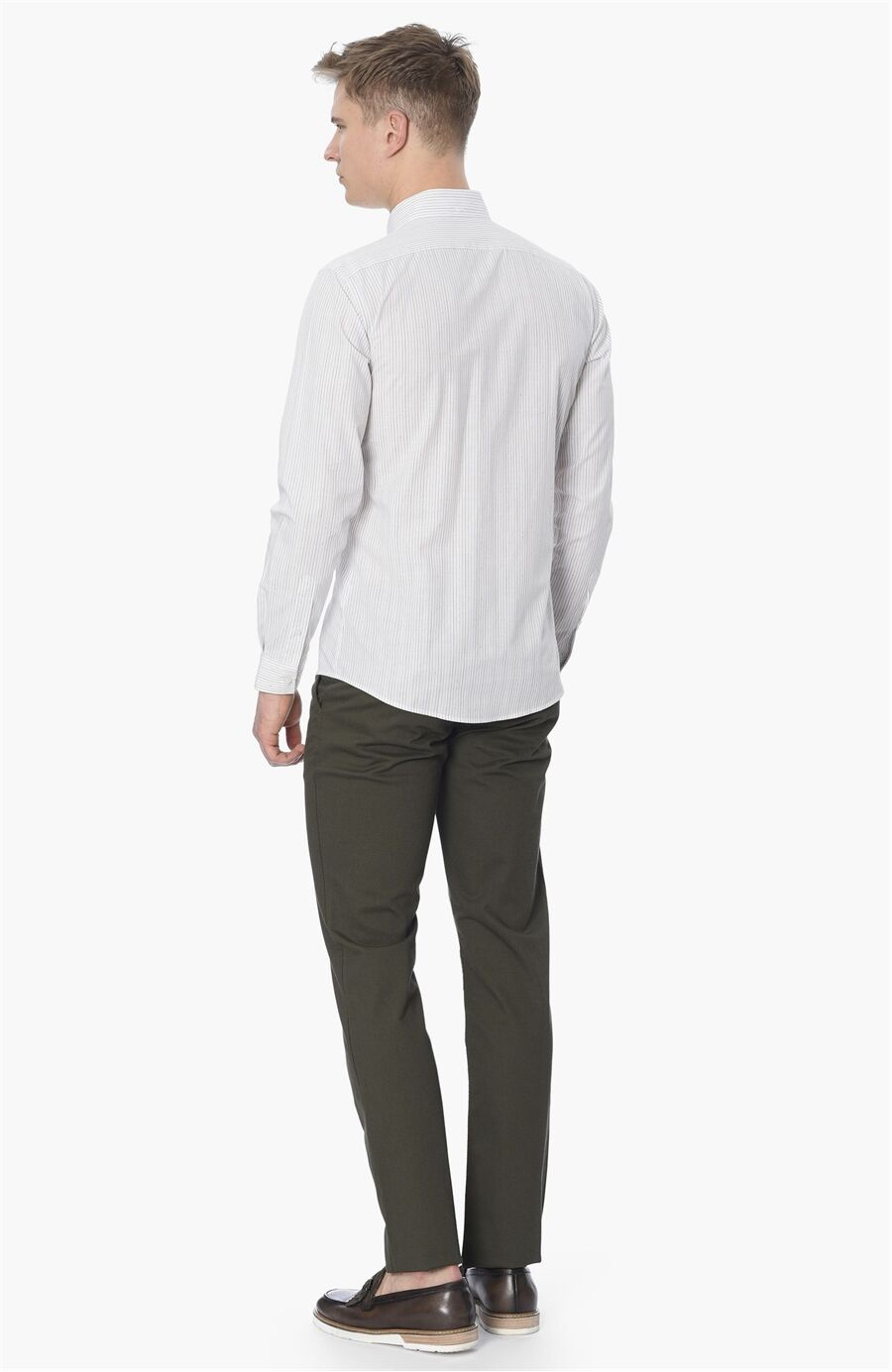 Çizgili Slım Fit Beyaz Gömlek