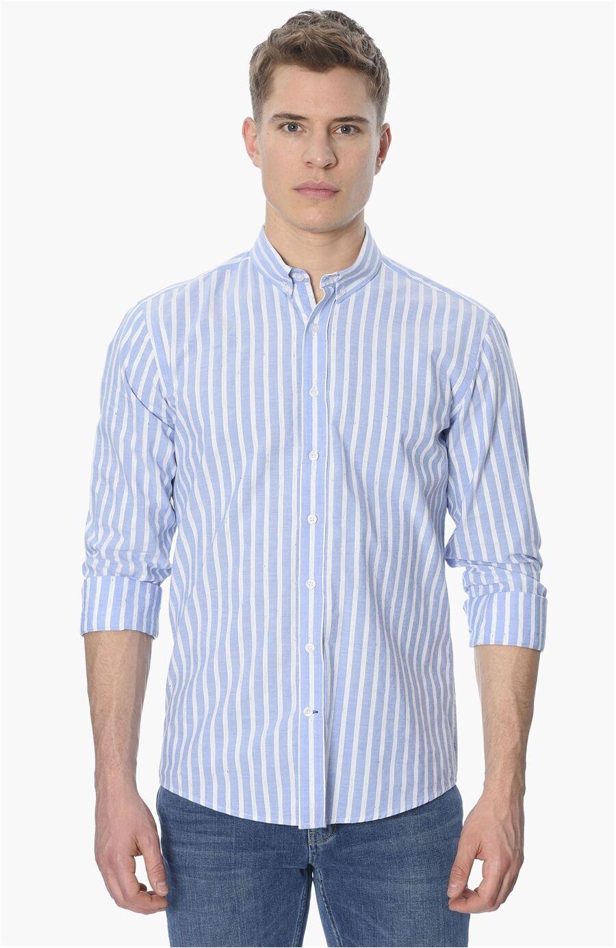 Çizgili Slım Fit Koyu Mavi Gömlek