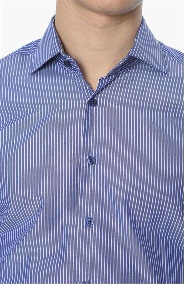 Çizgili Slım Fit Lacivert-Beyaz Gömlek