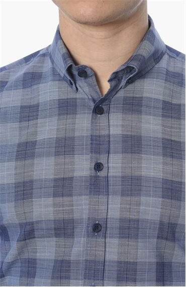 Ekose Slım Fit Lacivert - Mavi Gömlek