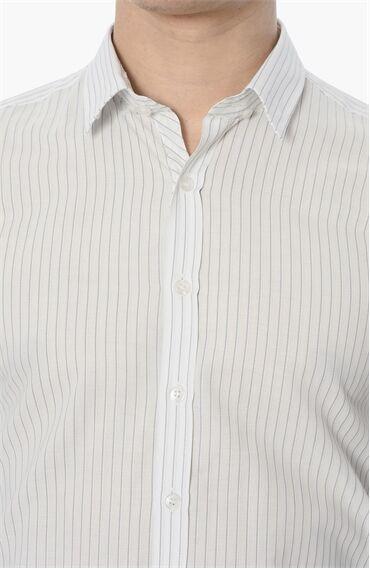 Çizgili Beyaz Mavi Gömlek