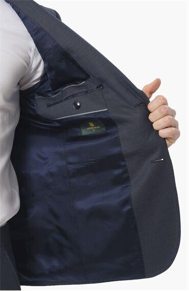 Jakarlı Desen Lacivert Takim Elbise