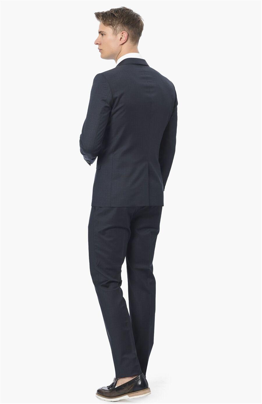 Ekose Slim Fit Lacivert Takım Elbise
