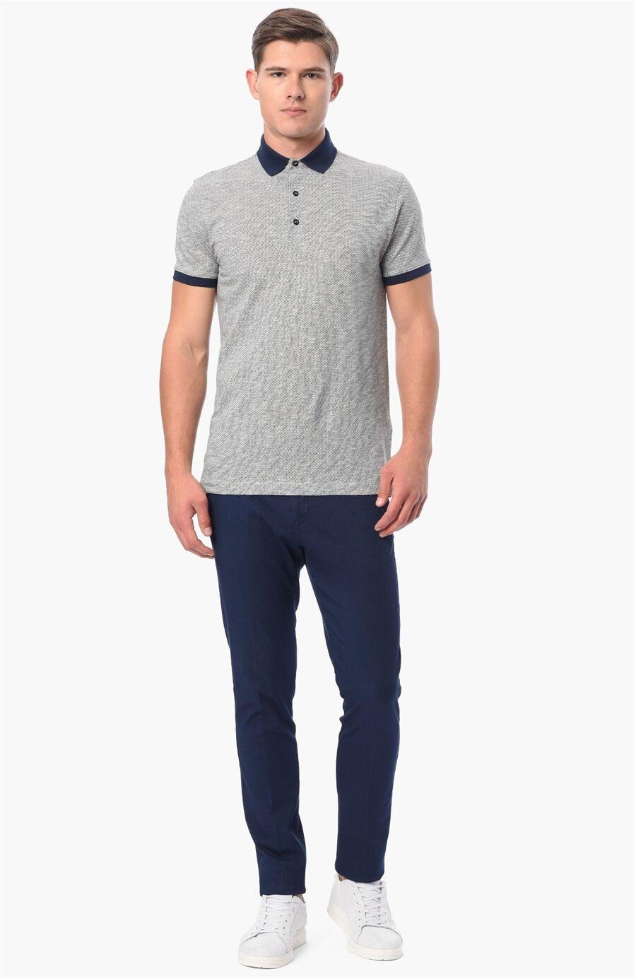 Jakarlı Regular Fit Lacivert-Beyaz Tshirt